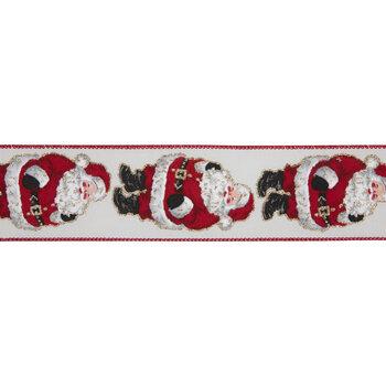 "Cream & Red Santa Wired Edge Ribbon - 2 1/2"""