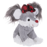 Gray & White Plush Mouse With Bow