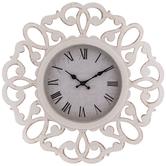 Brushed White Cutout Flourish Wall Clock