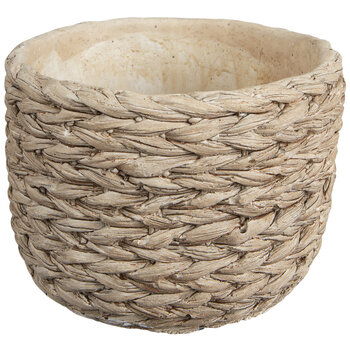 Basket Weave Cement Flower Pot