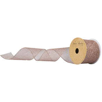 "Rose Gold Glitter Mesh Wired Edge Ribbon - 2 1/2"""