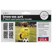 "Black Sports Iron-On Applique Alphabet - 2"""