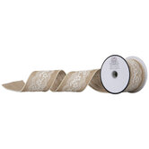 "Pearl Edge Burlap & Lace Ribbon - 2 1/2"""