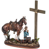 Cowboy & Horse Praying At Cross