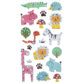 Metallic Zoo Animals Puffy Stickers