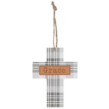 Grace Gray & White Plaid Wood Wall Cross