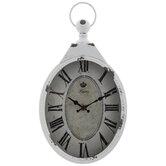 Oval Distressed Metal Wall Clock