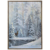 Deer In Snow Canvas Wall Decor