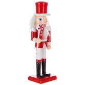 Red & White Nutcracker With Short Peppermint Scepter