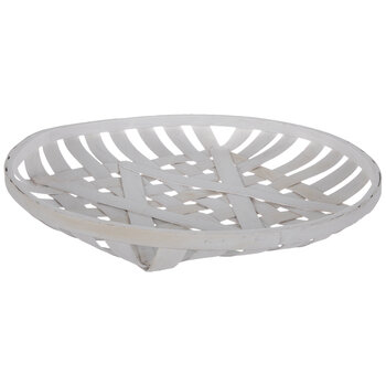 White Woven Round Wood Tray - Large