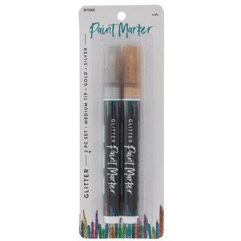 Gold & Silver Glitter Medium Tip Paint Markers - 2 Piece Set
