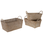 Natural Rectangle Basket Set