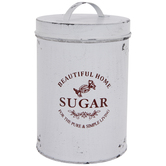 Antique White Sugar Metal Canister