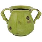 Green Twisted Handle Crackle Vase