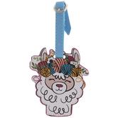 Llama With Yarn Crown Luggage Tag