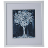 Blue Minimal Floral Framed Wall Decor