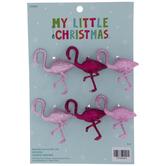 Pink Glitter Flamingo Ornaments