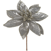 Silver Poinsettia Pick