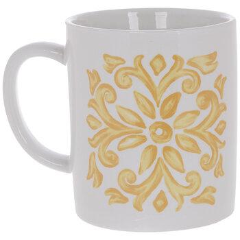 White & Yellow Floral Tile Mug