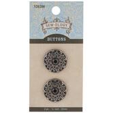 Pewter Ornate Rhinestone Shank Buttons - 22mm