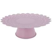 Pink Scalloped Metal Cake Stand - Large
