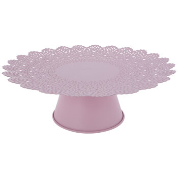Pink Scalloped Metal Cake Stand