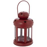 Red Stars Metal Lantern