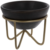 Dark Brown Wood Bowl With Stand
