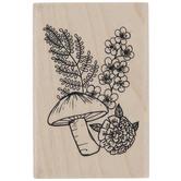 Mushroom & Flowers Rubber Stamp