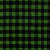 Green Buffalo Check Flannel Fabric