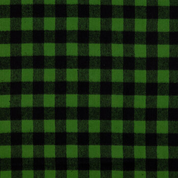 Green Buffalo Check Flannel Fabric