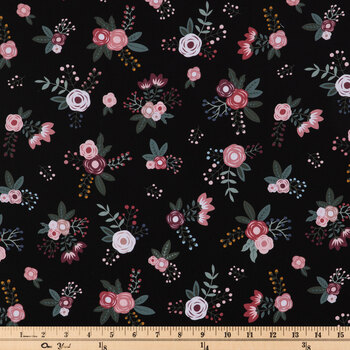 Sweet Floral On Black Apparel Fabric
