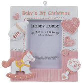 Pink Baby's 1st Christmas Frame Ornament