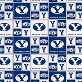 Brigham Young Block Collegiate Cotton Fabric