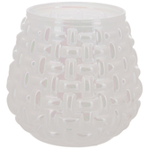 White Opal Basket Weave Glass Candle Holder