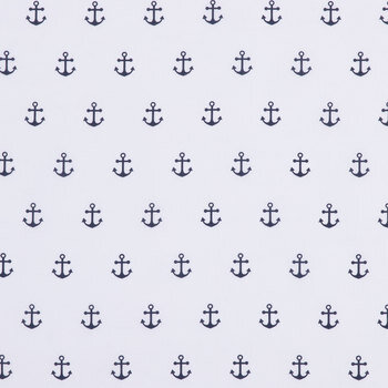 White & Navy Anchors Apparel Fabric