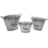 Farmhouse Rustic Galvanized Metal Container Set
