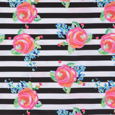 Watercolor Rose Striped Apparel Fabric
