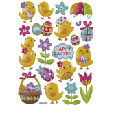 Happy Easter Chicks Puffy Stickers
