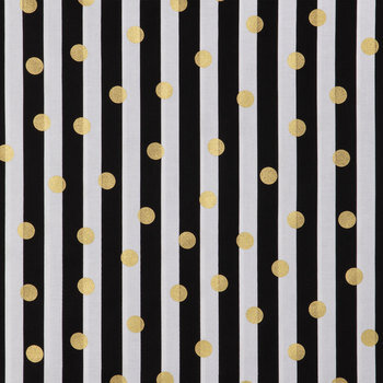 Black & White Striped Apparel Fabric With Gold Dots