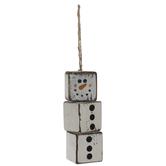 Distressed Block Snowman Ornament