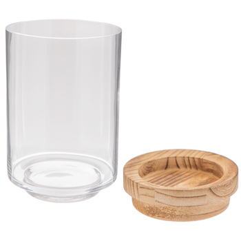 Hurricane Glass Candle Holder With Brown Base
