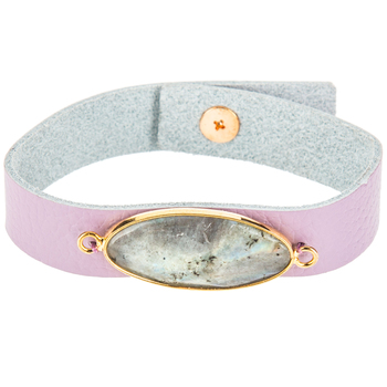 Lavender Leather Bracelet with Stone