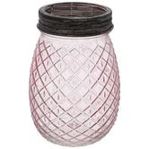 Diamond Patterned Glass Vase