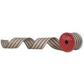 "Black & Natural Striped Wired Edge Ribbon - 2 1/2"""