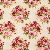 Cream Floral & Dots Cotton Calico Fabric