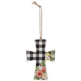 Buffalo Check & Floral Wall Cross
