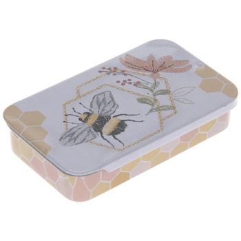 Bee, Honeycomb & Flowers Tin Needle Box