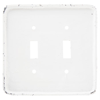 Distressed White Floral Metal Double Switch Plate