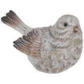 White & Brown Bird Facing Left